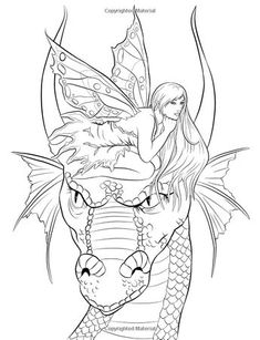 Fairy Companions Coloring Book - Fairy Romance, Dragons and Fairy Pets (Fantasy Art Coloring by Selina) (Volume Selina Fenech Dragon Coloring Page, Fairy Coloring Pages, Adult Coloring Book Pages, Printable Coloring Pages, Coloring Sheets, Coloring Books, Colorful Drawings, Colorful Pictures, Fairy Art