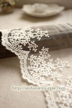 Japanese Lace Trim Ivory White Embroidery Floral 1 by stefaniexu,
