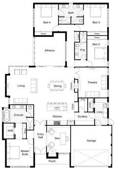 House Plans One Story, New House Plans, Dream House Plans, Modern House Plans, Floor Plans For Houses, Dream Houses, Modern Floor Plans, Floor Plan 4 Bedroom, Basement Floor Plans