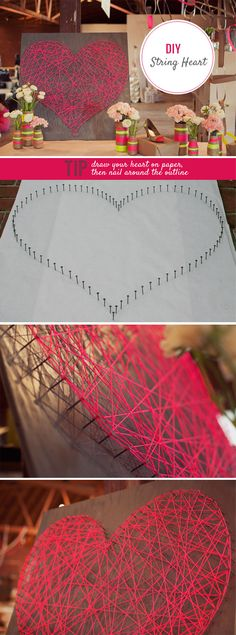 diy string heart art.....or do this for other shoes....or initials...letters...