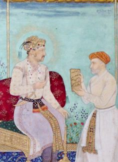 Mughal Emperor Jahangir with Itimad al Daula both wearing patkas. Mughal Miniature Paintings, Mughal Paintings, Islamic Paintings, First Battle Of Panipat, King Of India, Mughal Architecture, Mughal Empire, India Art, Central Asia
