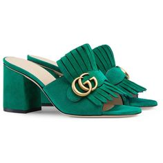 Gucci Suede Mid-Heel Slide ($560) ❤ liked on Polyvore featuring shoes, sandals, green, slides & mules, women, mule sandals, high heeled footwear, high heel sandals, mid heel sandals and suede shoes