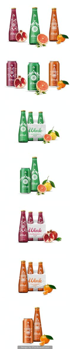A very intricate design for each juice flavor, but the same design process is carried over well to the other bottles and can. It may be intricate but still versatile enough to be printed on other cans.
