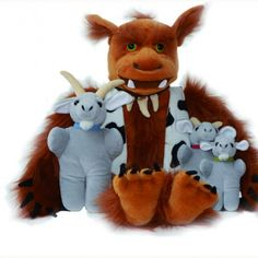 Puppets - Three Billy Goats Gruff - Three walking goats and a large troll which has access to the mouth hands and arms. • Set of 4 puppets