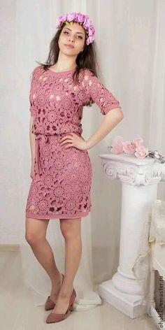 Blouse Dress, Knit Dress, Dress Skirt, Blouse And Skirt, Crochet Wedding Dress Pattern, Wedding Dress Patterns, Gilet Crochet, Crochet Blouse, Mode Crochet