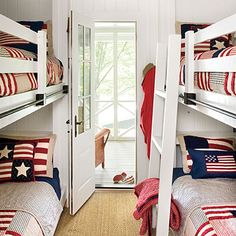 Lakeside Cabin Makeover: Bunk Room Photo: Laurey Glenn, Styling: Matthew Gleason « 12 of 13 » View all Bunk Room Kettles was able to innovate and turn a small upstairs room into a bunk room to fit more guests.