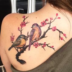 Cute Birds On Branch Tattoo On Left Back Shoulder Two Birds Tattoo, Simple Bird Tattoo, Small Bird Tattoos, Tattoos For Women Small, Tattoo Bird, Girl Back Tattoos, Back Tattoo Women, Lower Back Tattoos, Cage Tattoos