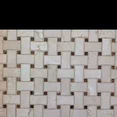 crema marfil with dark emp. dots basket weave mosaic.  $9.95/ sf  C-Line Marble & Granite, Inc.  2100 Jericho Tpke  New Hyde Park, NY 11040  516-742-8886 phone    www.CLineMarbleAndGraniteInc.com  or follow us on...  www.facebook.com/ClineStoneandTile