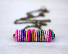 Colorful Yarn Bead Necklace by jimenasjewelry on Etsy