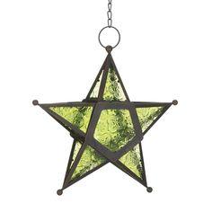 Green Glass Star Candle Lantern