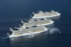 The three largest cruise ships ever built, Royal Caribbean's Harmony of the Seas, Allure of the Seas, and Oasis of the Seas, met for the first time yesterday for an epic photo shoot off of the coast of South Florida. Each of these Oasis class ships are more than 225,000 gross tons each, more than …