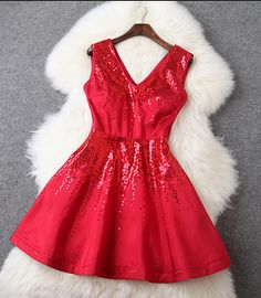 Spring New European And American Women's Fashion Party Dress Sequined V-Neck Dress Vest Dress