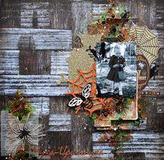 Recortes de kits oscuridad del libro de recuerdos;  técnicas mixtas diseño de Halloween creado usando el kit 'encantada' de Tatiana