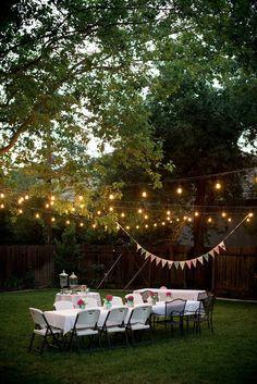 A backyard birthday dinner party using pink hydrangeas, blue canning jars, and polka dots. Backyard Shade, Backyard Pergola, Backyard Landscaping, Backyard Ideas, Patio, Backyard Party Lighting, Backyard Party Decorations, Wedding Decorations, Backyard Birthday