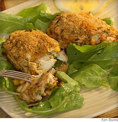 Cajun Crab Croquettes- Crab cakes get a Louisiana spin with Cajun spice and corn.