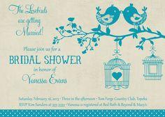 Vintage Teal and Tan Love Birds Bridal Shower Invitation - Printable