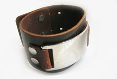 Jewelry bangle buckle bracelet leather bracelet men bracelet metal bracelet made of metal brown leather  cuff bracelet  SH-1789. $9.00, via Etsy.