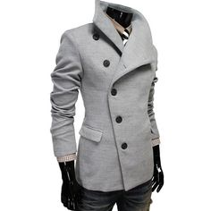 Grey coat. Actually not double-breasted.