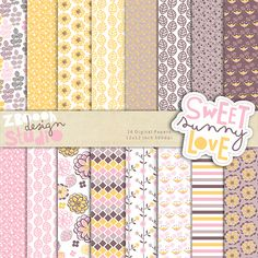 lovely set of 16 digital papers in stylish color combination with summer floral designs, this set can be used as embellishments for invitations, cards, stationery, scrapbooking etc.