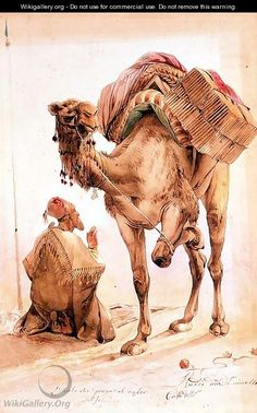 Praying Arab with a Secured Camel - Ippolito Caffi