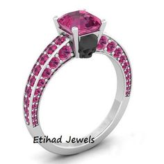 pink princess cut and black skull design solitaire engagement ring pink sapphire skull ring gothic wedding