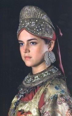 Russian traditional costume. Headdress 'borushka' from Vologda Province, Northern Russia, 19th century.