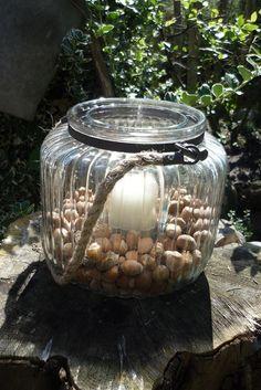 Advent---  XXL Glas--- winterlich  von Holz- Kreativ auf DaWanda.com----  Nuss trifft Kerze und zusammen genießen sie die Adventszeit .....