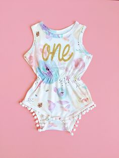 f47e96d1e Cotton Candy Floral Pom Pom Romper First Birthday Outfit Girl