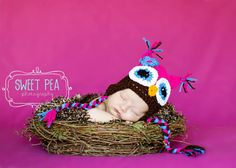 Crochet Hoot Owl Hat Pink  with Blue Folwer