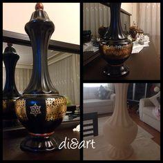 Seramik siyah vazo dekor