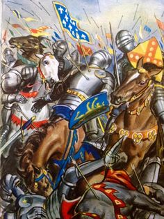 Death of the French Knights during the charge at the Battle of Agincourt, Hundred Years War.