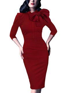 c31c3d4918a Women s Celebrity 1950s Vintage Retro Bow Cocktail Party Evening Dress 469  Red 20 VfEmage http