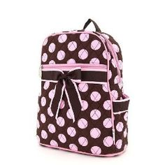 Medium Quilted Polka Dots Print Backpack Purse - Brown/Prink (11x13x4.5) $25.95