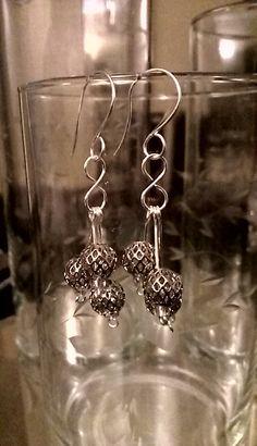Metal beads, silver wire earrings