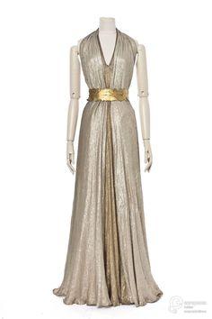Madeleine Vionnet evening dress, France, 1936: gold and silver silk lamé.
