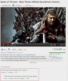 Game of Thrones soundtrack funny comment #GOT