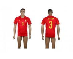 AAA+ Thailand 2014-15 Ghana 3 A.GYAN Away Red World Cup Soccer Jersey prices USD $19.50 #cheapjerseys #sportsjerseys #popular jerseys #NFL #MLB #NBA