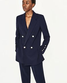 Image 2 of DOUBLE BREASTED BLAZER WITH PEARLY BUTTONS from Zara
