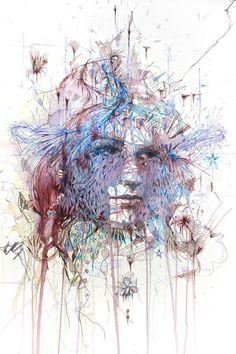 Illusion: Aside from using watercolor, calligraphy ink and graphite,Carne Griffiths also uses beverages like tea, brandy and vodka to make some of his splashy portraits http://illusion.scene360.com/art/45350/art-with-tea-and-vodka/