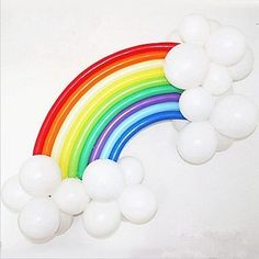 Balloons in a rainbow design would look stunning at your next party or event. This DIY rainbow balloon kit is perfect for a rainbow party, a My Little Colorful Birthday Party, Unicorn Birthday Parties, Birthday Balloons, Unicorn Party, Rainbow Unicorn, Rainbow Baby, Diy Birthday, Rainbow Party Decorations, Rainbow Parties