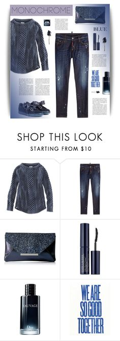 """""""Head to Toe Monotone: Blue"""" by cara-mia-mon-cher ❤ liked on Polyvore featuring L.L.Bean, Dsquared2, Jessica McClintock, Estée Lauder, Christian Dior and DuÅ¡an"""