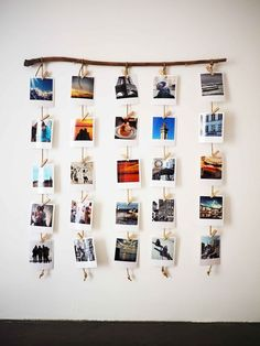 A wooden branch for hanging Polaroids, a decorative DIY canon! - P H O T O - Deco Home Hanging Polaroids, Hanging Photos, Wall Photos, Photo Hanging, Displaying Photos On Wall, Diy Room Decor, Bedroom Decor, Home Decor, Travel Room Decor
