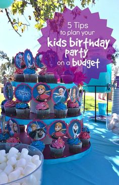 Frozen Birthday Party Ideas, Cupcake Toppers, Cupcake Stand and Blue Frozen Punch Frozen Birthday Cupcakes, Frozen Themed Birthday Party, Disney Frozen Birthday, 4th Birthday Parties, Birthday Ideas, 3rd Birthday, Unicorn Birthday, Kids Party Themes, Party Ideas