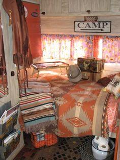 Western decor in vintage trailer.