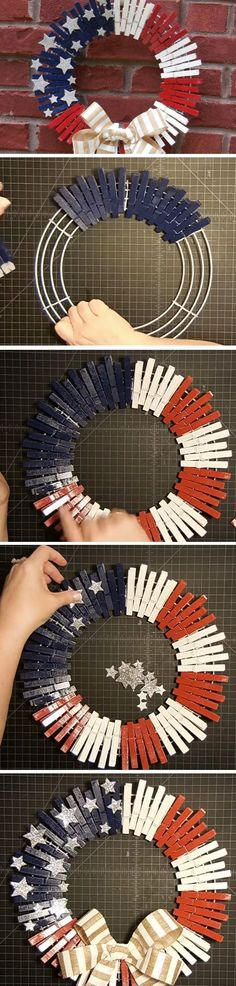 Clothespin Wreath | DIY Memorial Day Decor Ideas for the Home | DIY July 4th Decorations Front Porches