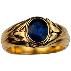 Art Nouveau Antique Sapphire Gold Ring | See more rare vintage Solitaire Rings at http://www.1stdibs.com/jewelry/rings/solitaire-rings