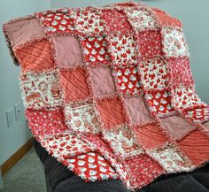 FREE SHIPPING-Rustic, Christmas, Rag Quilt- Throw Blanket