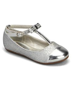 This Silver Joanie T-Strap Flat by Kelly Kids is perfect! #zulilyfinds