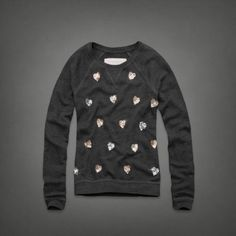 Abercrombie Sequin Hearts Sweatshirt Adorable and super comfortable grey sweater with sequin hearts. Size medium, can also fit small. Worn once or twice. Perfect for Valentine's Day! please no trades, posh sales only Abercrombie & Fitch Sweaters Crew & Scoop Necks
