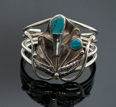 Vintage Sterling Silver and Turquoise Cuff by SITFineJewelry,